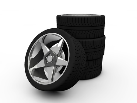 Car tire with rim on a white background  Stock Photo - 19558577