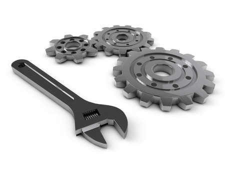 steel gear and wrench tool on a white background photo