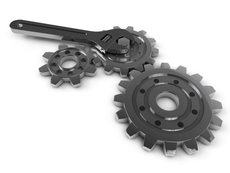 steel gear and wrench tool on a white background Stock Photo