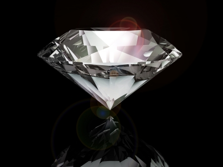 black stone: diamond on black background Stock Photo