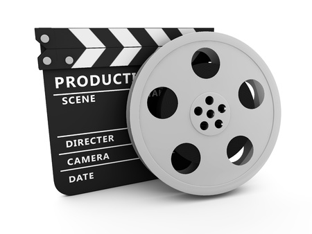 video reel: Film and Clapper board Stock Photo