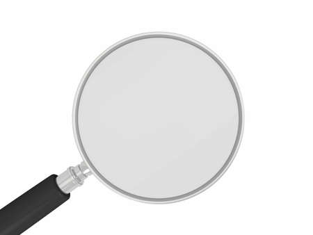 low scale magnification: Magnifying glass isolated on white