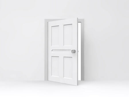 Opened door with empty white wall  photo