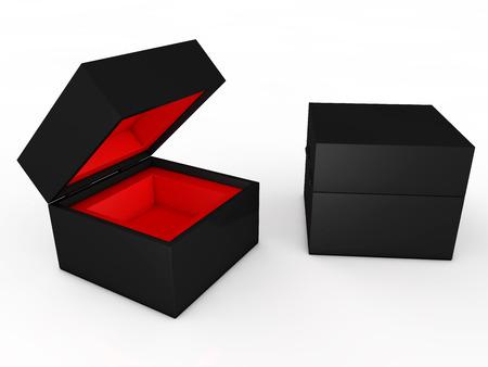 dvd case: blank black boxes isolated on white background  Stock Photo