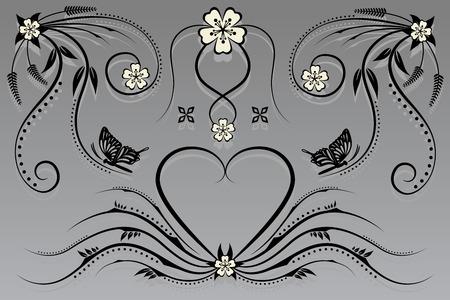 baroque border: vector floral and flower Illustration