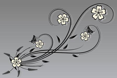 Vector floral y la flor Foto de archivo - 40872216