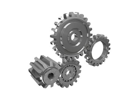 metal parts: 3d gear Stock Photo