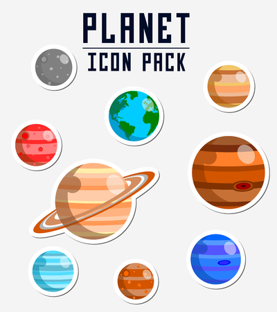 A planet icon pack illustration. Illustration