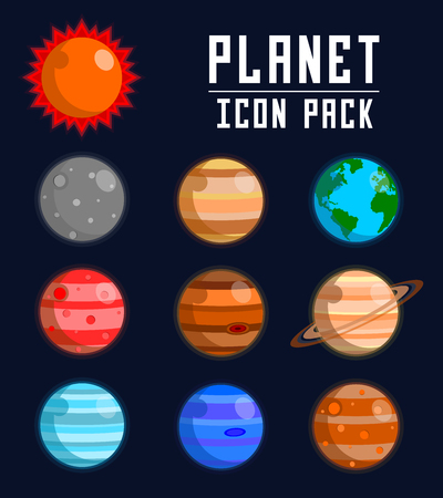A planet icon pack illustration. Illustration