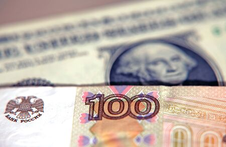 The ruble against the dollar. Dollar for 100 rubles Stok Fotoğraf