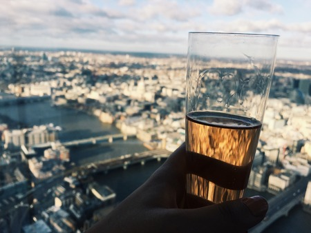 shard: Champagne on top of The Shard Stock Photo