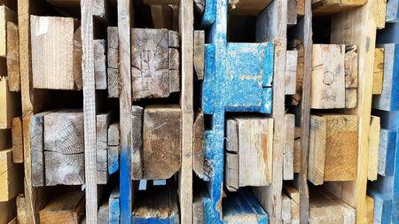 pallets in stock in a stack closeup. Warehouse pallets Foto de archivo