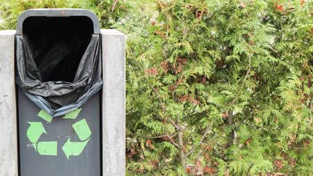 New green trash bin in the park in the fall. Close-up of a plastic and concrete dustbin set up in a public park along many trees and bushes in the background. Stock Photo