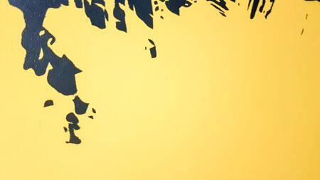 Black abstract paint splashes dripping on a bright yellow background. Black paint splashes on a yellow background. concept of art ideas. Paint brush texture yellow and black on background.