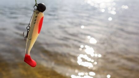 Silicone fish wobblers hanging on a spinning rod, against the background of water. fishing lures for predatory fish. Copy space. Spinning, jig fishing for predatory fish. Sport and hobbies. Stock Photo