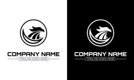 Ilustration vector graphic of falcon eagle logo and circle on black and white background