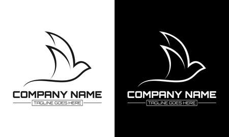 Ilustration vector graphic of Bird outline - logo template concept. Abstract dove sign. Design elements.