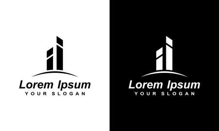 Vector logo concept for A line art icon logo of a building/ slyline