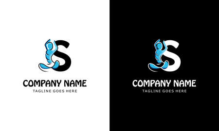 The letter S with a yoga person. Templates for logos, labels, emblems, signs, stamps. Vector illustration.