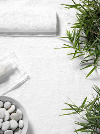 Bamboo leaves on a white towel  background  with copy space for the health and leisure lndustry 版權商用圖片