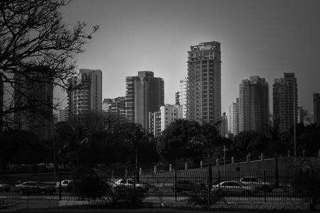 Black and white skyline photo