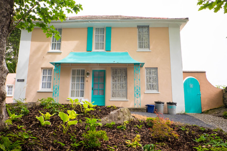 cymru: House in Portmeirion where half the windows are painted on Editorial
