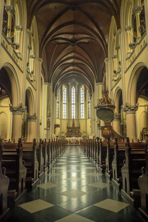 aisle: View down the aisle of Jakarta cathedral