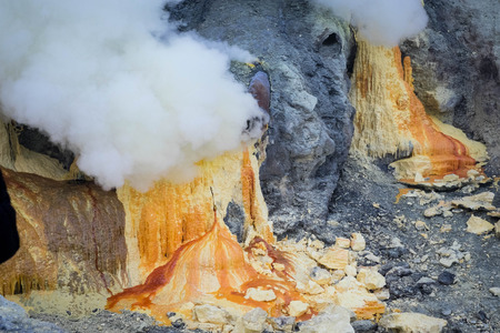 Sulphur produced by the volcano, Ijen crater, Indonesia