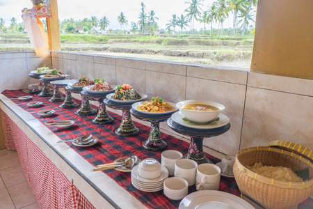 indonesian food: Table of Indonesian food ready to be served Stock Photo