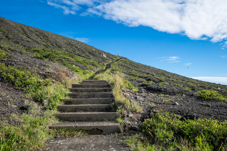 flores: Stairs leading to scenic viewpoint, Kelimutu, Flores, Indonesia Stock Photo