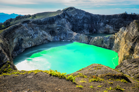 flores: Two different coloured crater lakes at Kelimutu, Flores, Indonesia
