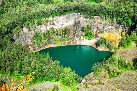 crater lake: Coloured lake at Kelimutu, Flores, Indonesia