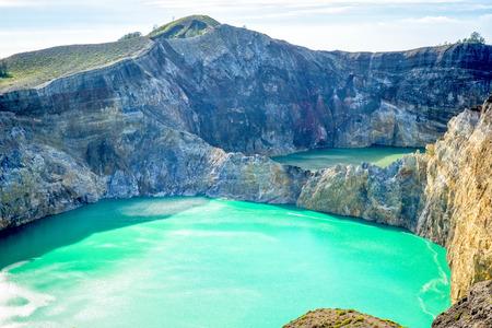 Coloured lakes at Kelimutu, Flores, Indonesia Stock Photo