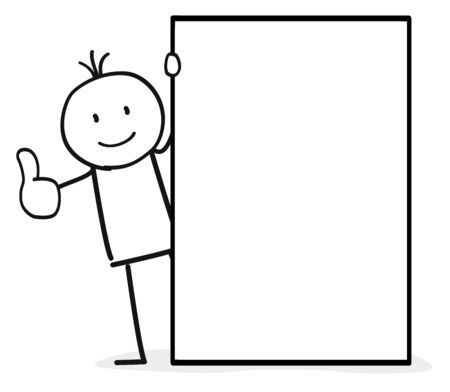 Stick figure with an empty paper  イラスト・ベクター素材