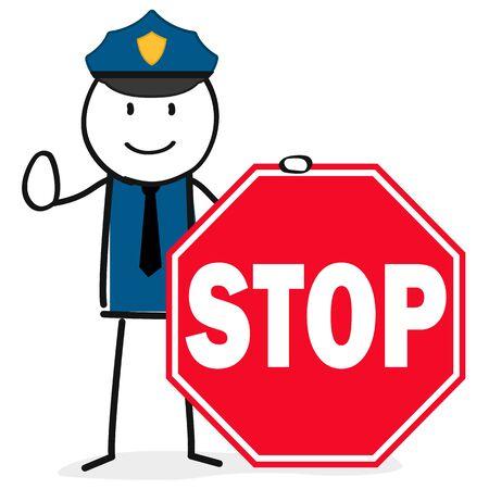 Police officer with stop sign Ilustração