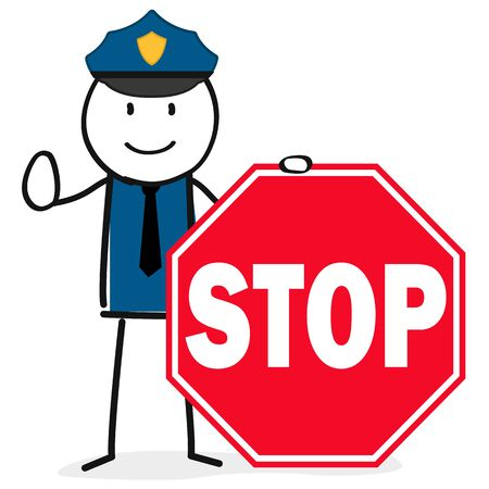 Police officer with stop sign Illustration