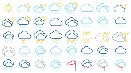 Line weather icon collection Иллюстрация