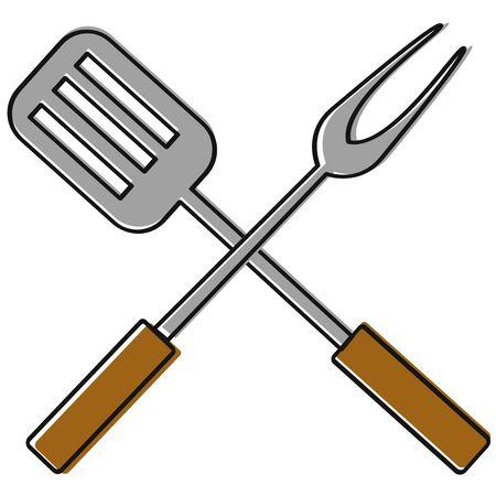 Barbecue cutlery icon Ilustrace
