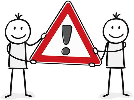 Two persons with an exclamation mark sign Illustration