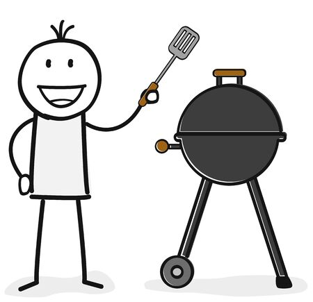 person is ready for barbecue Illustration