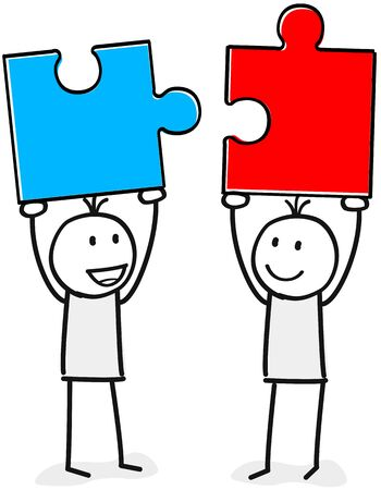 Two persons with matching puzzle Ilustrace