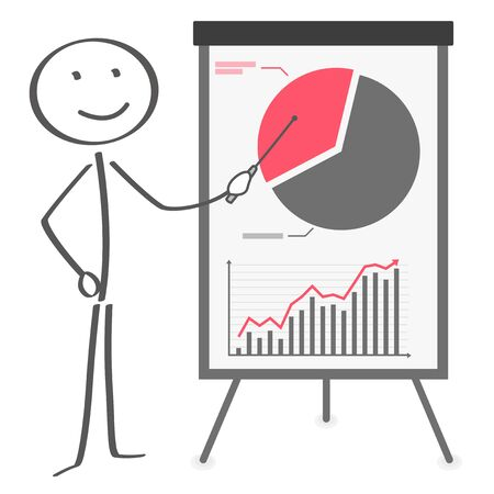 Stick figure with finance flip chart