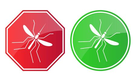 Mosquito red and green sign Illustration