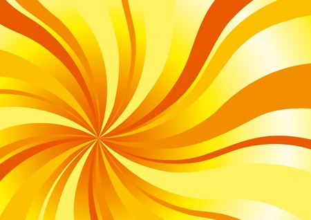 Abstract background in sun colors with bright curved rays