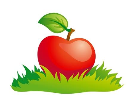 緑の草に赤いリンゴ。  イラスト・ベクター素材