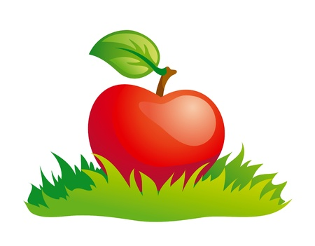 Red apple in green grass.
