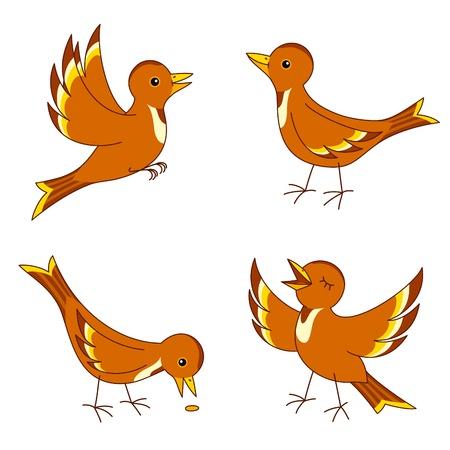 sparrows: Set of four stylized birds.