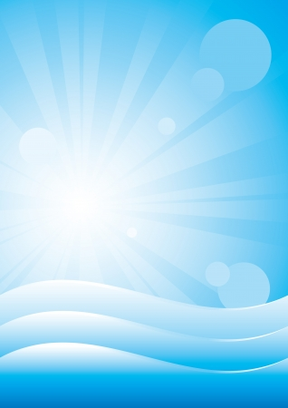 Background with ocean waves and sun beams. Fully Editable vector. Çizim