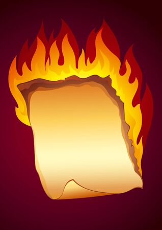 Old paper sheet with turned corner burning on dark background. Fully editable vector. Vector