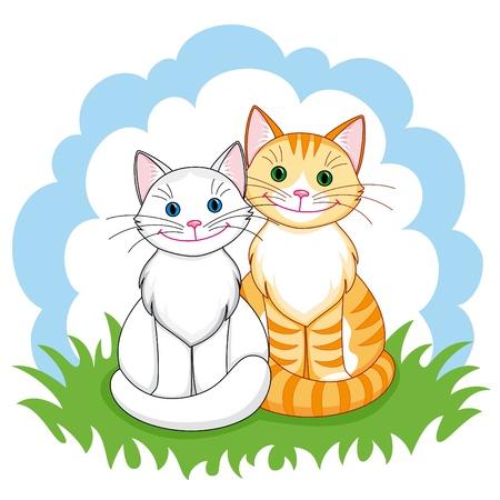 gato dibujo: Pareja de gatos felices en el amor sentado cerca.   Vectores